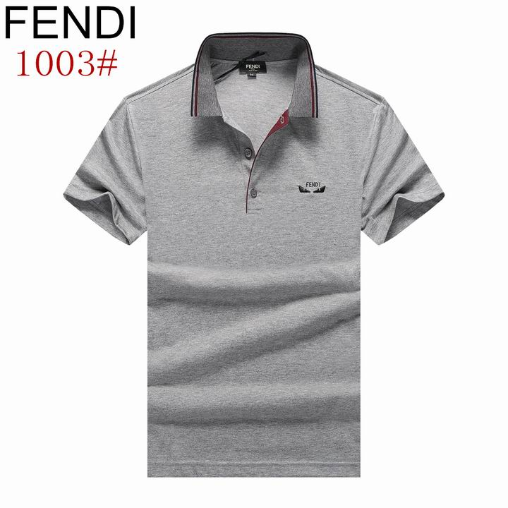 Wholesale Fendi Short-Sleeved Lapel T-shirts for Men-014