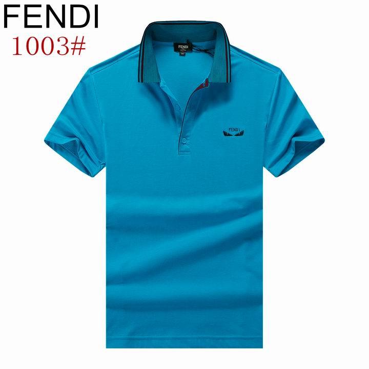 Wholesale Fendi Short-Sleeved Lapel T-shirts for Men-015