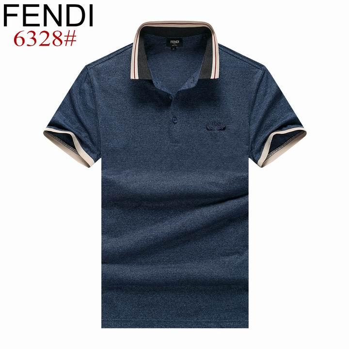 Wholesale Fendi Short-Sleeved Lapel T-shirts for Men-017