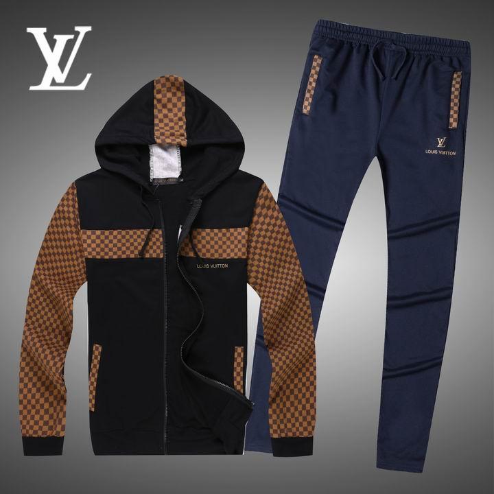 Wholesale Replica Louis Vuitton Long Sleeve Tracksuits for Men-008