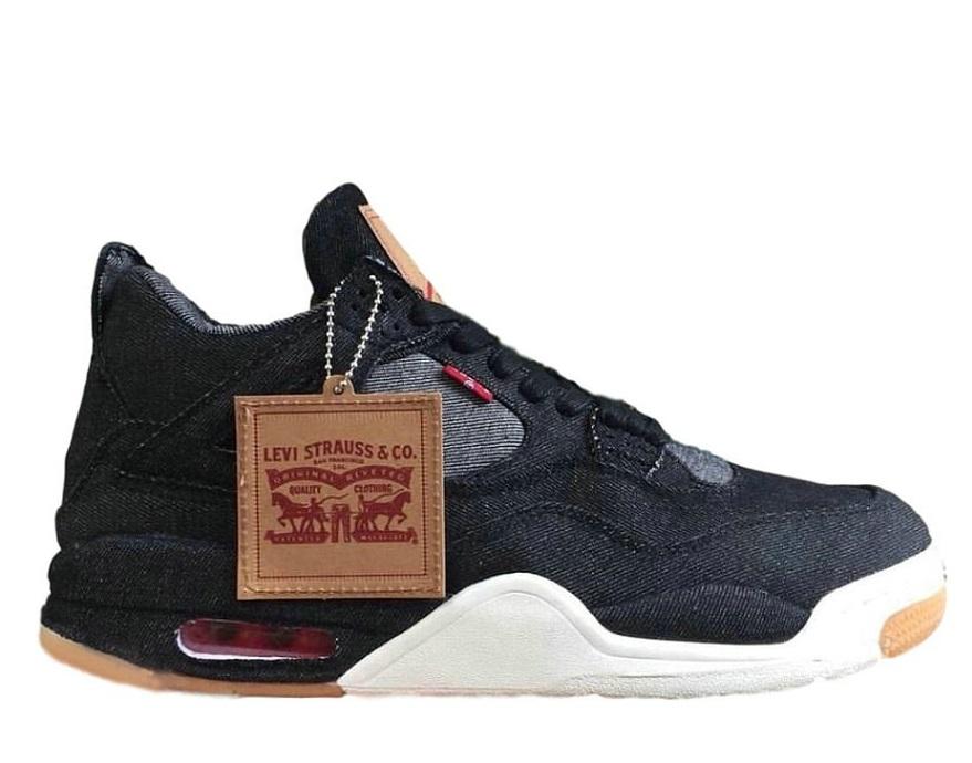 Wholesale Levi's x Air Jordan 4 Retro 'Black Denim' Sneakers Sale-025