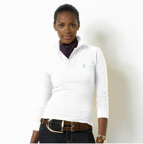 Wholesale Replica Polo Ralph Lauren Long Sleeve Lapel T Shirts Women-005