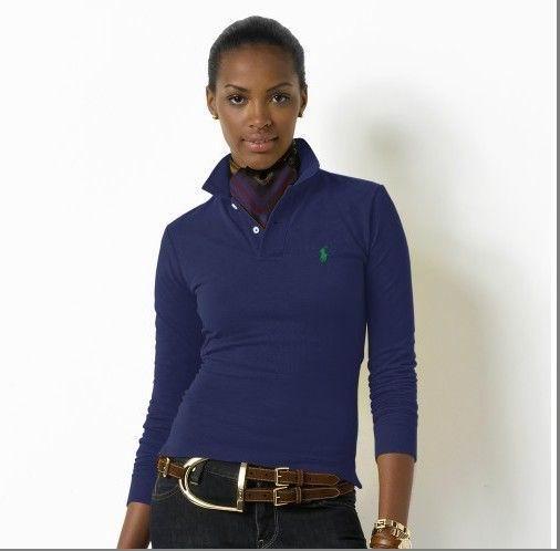Wholesale Replica Polo Ralph Lauren Long Sleeve Lapel T Shirts Women-006