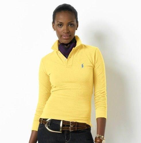 Wholesale Replica Polo Ralph Lauren Long Sleeve Lapel T Shirts Women-007