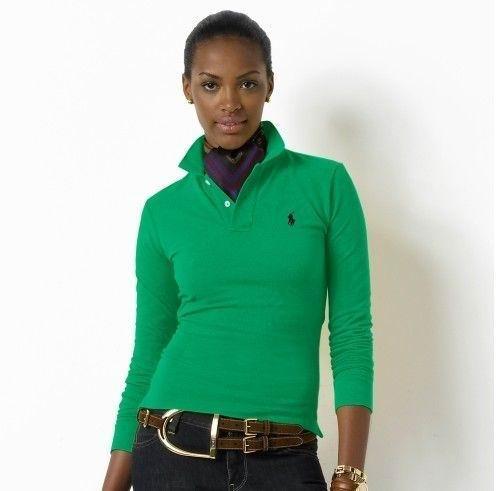 Wholesale Replica Polo Ralph Lauren Long Sleeve Lapel T Shirts Women-008