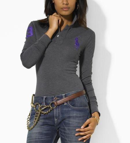 Wholesale Replica Polo Ralph Lauren Long Sleeve Lapel T Shirts Women-002