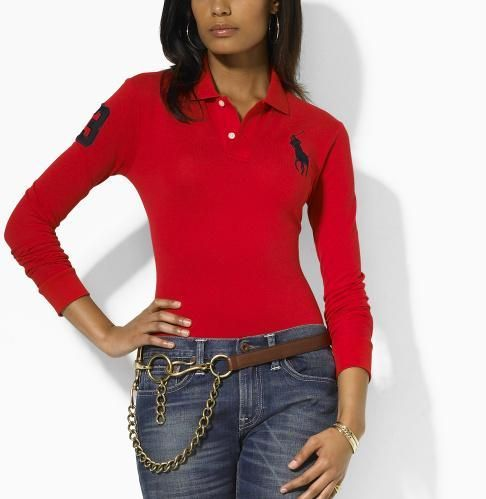 Wholesale Replica Polo Ralph Lauren Long Sleeve Lapel T Shirts Women-004