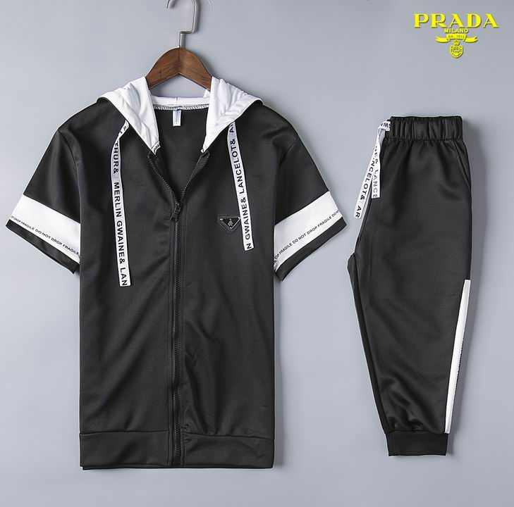 Wholesale Cheap Prada Short Sleeve Tracksuits for Men-054