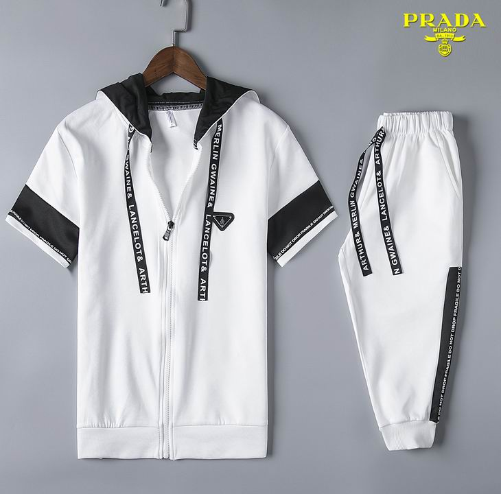 Wholesale Cheap Prada Short Sleeve Tracksuits for Men-055