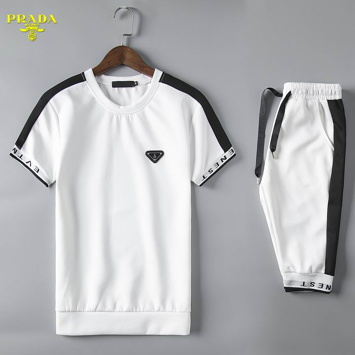 Wholesale Cheap Prada Short Sleeve Tracksuits for Men-057